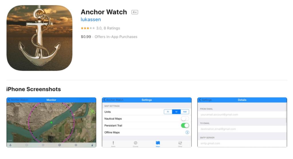 podglad aplikacji anchor watch