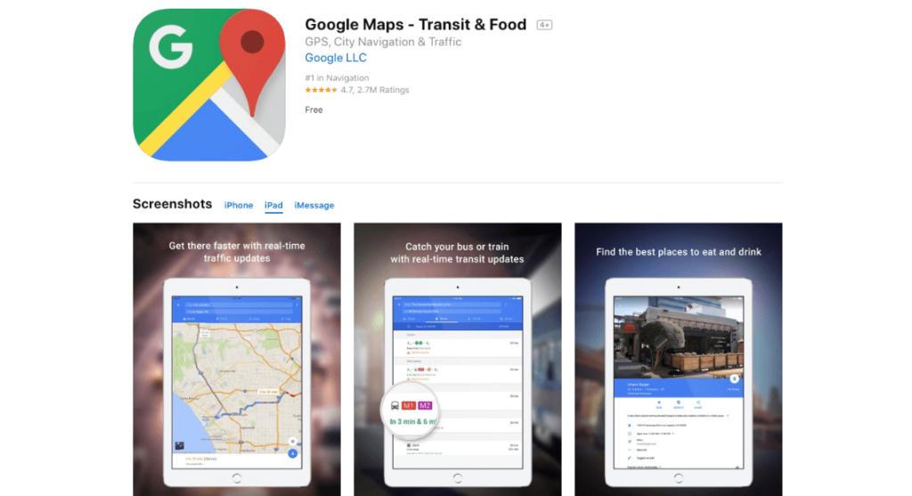 podglad aplikacji google maps