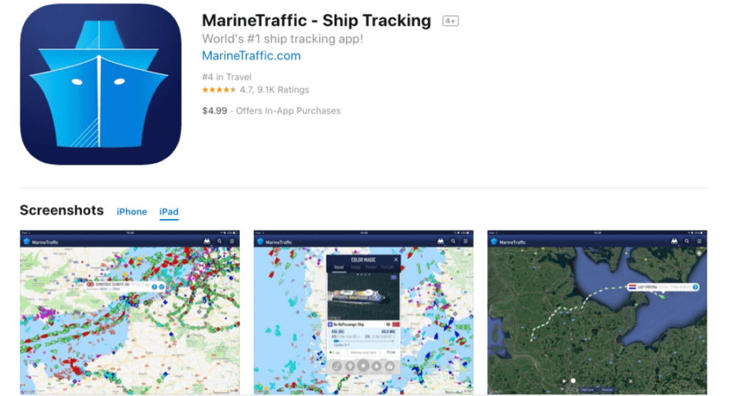 podglad aplikacji marine traffic