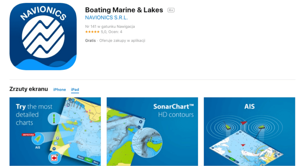 podglad aplikacji navionics boating